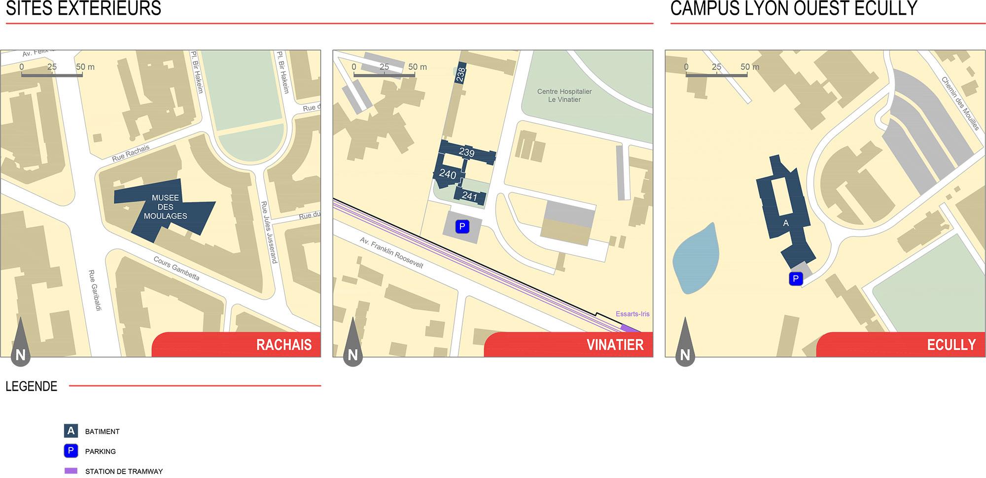 Université Lumière Lyon 2 - plan sites extérieurs (2020/2021)